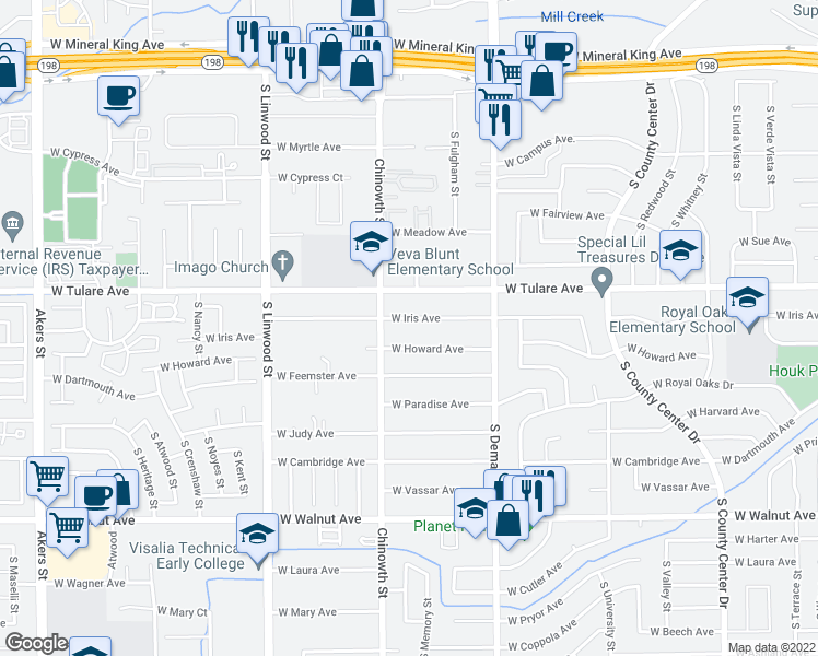 map of restaurants, bars, coffee shops, grocery stores, and more near 4005 West Iris Avenue in Visalia
