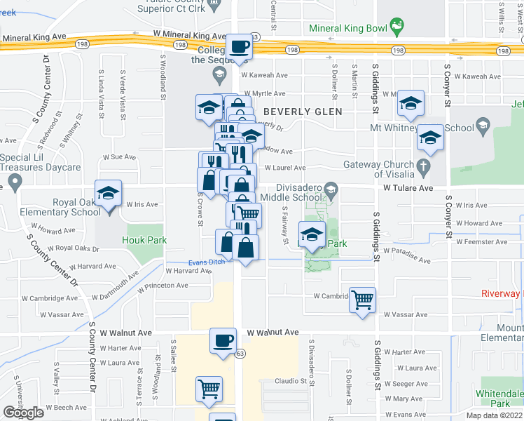 map of restaurants, bars, coffee shops, grocery stores, and more near 1321 South Central Street in Visalia