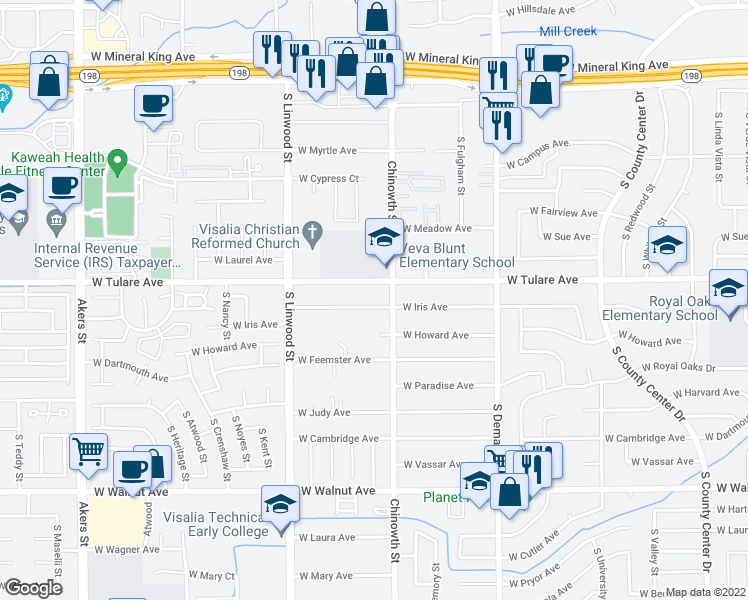 map of restaurants, bars, coffee shops, grocery stores, and more near 4138 West Iris Avenue in Visalia