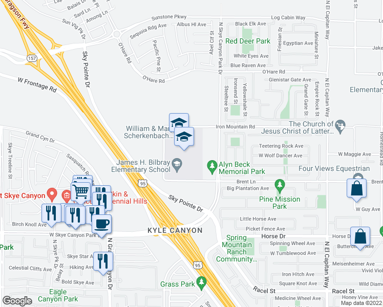 map of restaurants, bars, coffee shops, grocery stores, and more near 9370 Brent Lane in Las Vegas