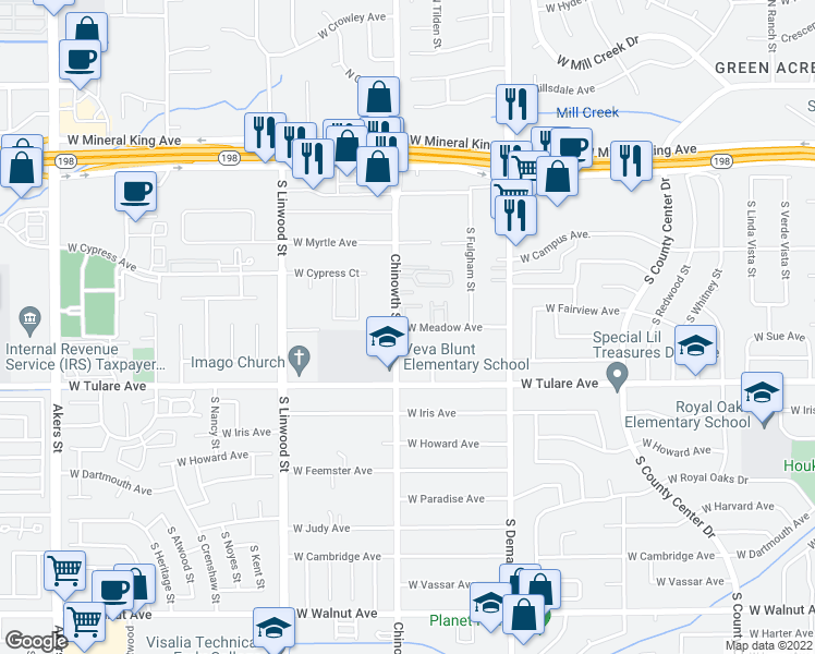 map of restaurants, bars, coffee shops, grocery stores, and more near 4054 West Meadow Avenue in Visalia