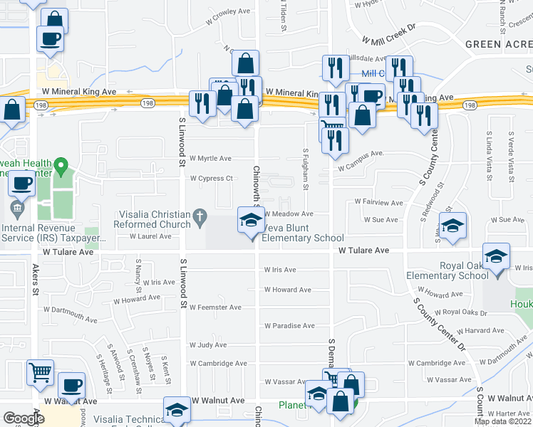 map of restaurants, bars, coffee shops, grocery stores, and more near 4044 West Meadow Avenue in Visalia