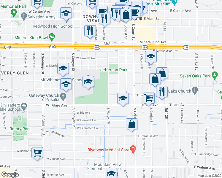 map of restaurants, bars, coffee shops, grocery stores, and more near 810 South Watson Street in Visalia