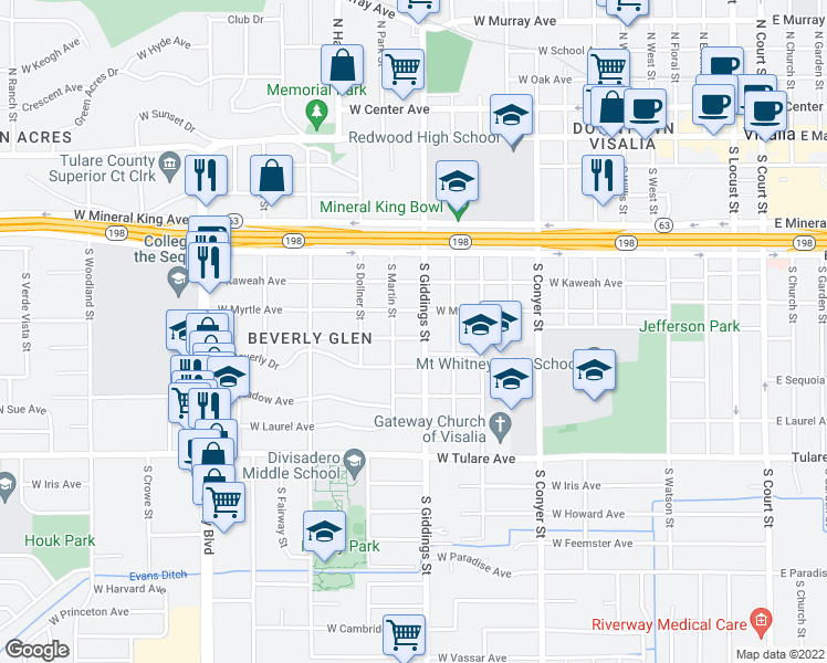 map of restaurants, bars, coffee shops, grocery stores, and more near 1304 West College Avenue in Visalia
