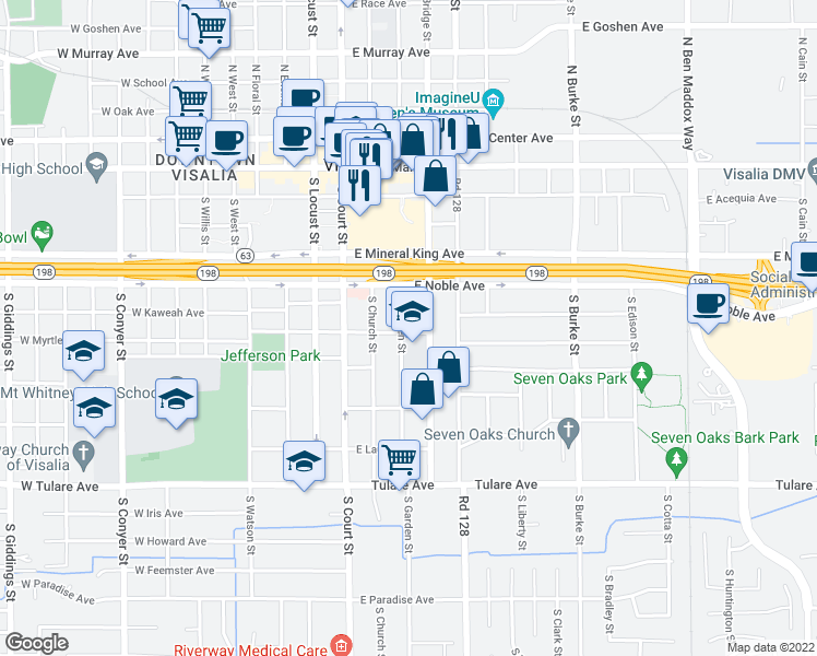 map of restaurants, bars, coffee shops, grocery stores, and more near 452 South Garden Street in Visalia