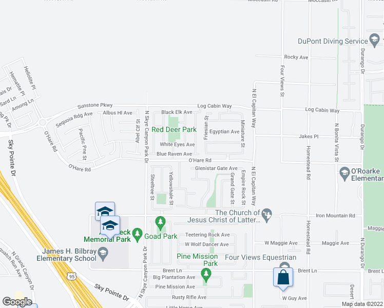 map of restaurants, bars, coffee shops, grocery stores, and more near 9028 Blue Raven Avenue in Las Vegas