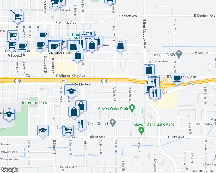 map of restaurants, bars, coffee shops, grocery stores, and more near 735 East Noble Avenue in Visalia