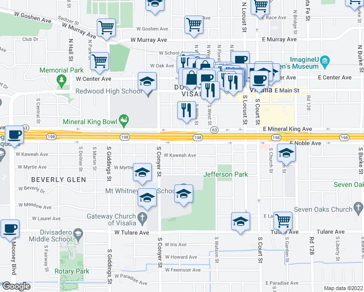 map of restaurants, bars, coffee shops, grocery stores, and more near 701 West Noble Avenue in Visalia