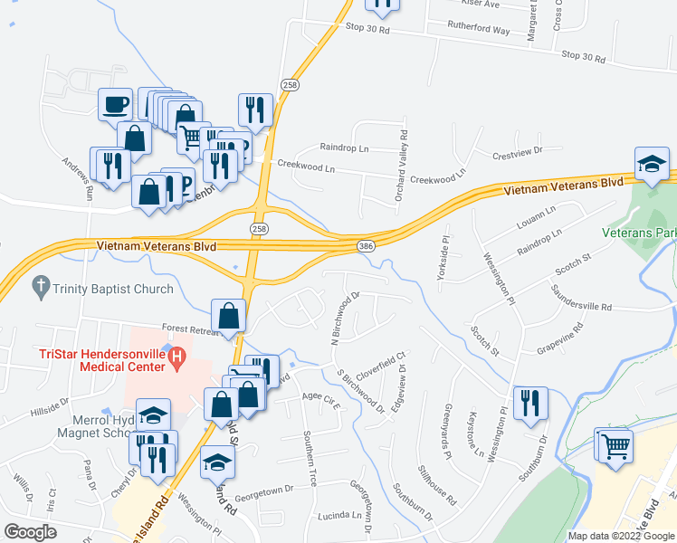 map of restaurants, bars, coffee shops, grocery stores, and more near 908 Cardinal Lane in Hendersonville