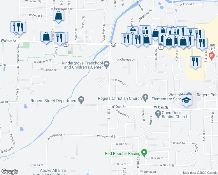 map of restaurants, bars, coffee shops, grocery stores, and more near 2801 Wellington Circle in Rogers