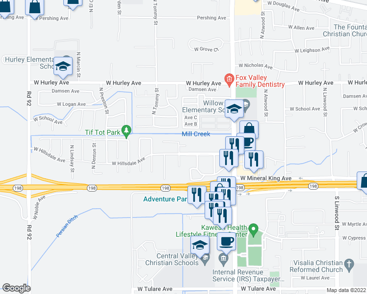 map of restaurants, bars, coffee shops, grocery stores, and more near 122 North Peppertree Street in Visalia