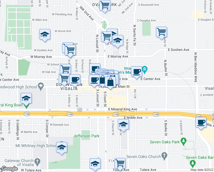map of restaurants, bars, coffee shops, grocery stores, and more near 2335 Vickie Court in Visalia