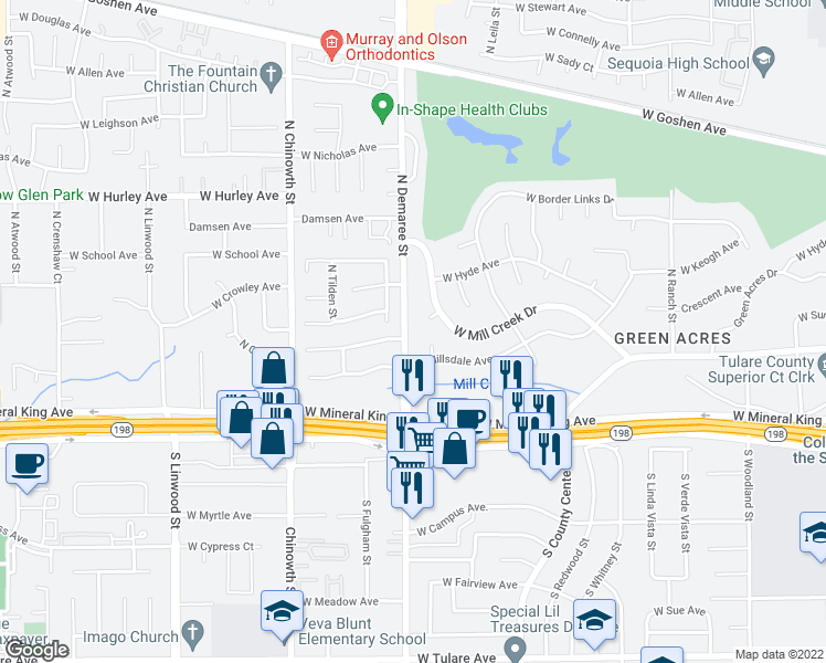 map of restaurants, bars, coffee shops, grocery stores, and more near 326 North Demaree Street in Visalia