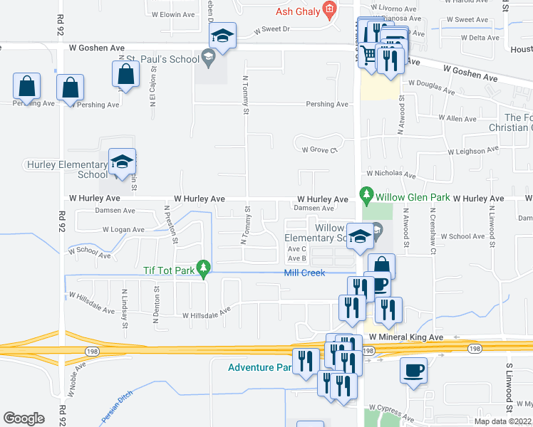 map of restaurants, bars, coffee shops, grocery stores, and more near 516 North Cottonwood Court in Visalia