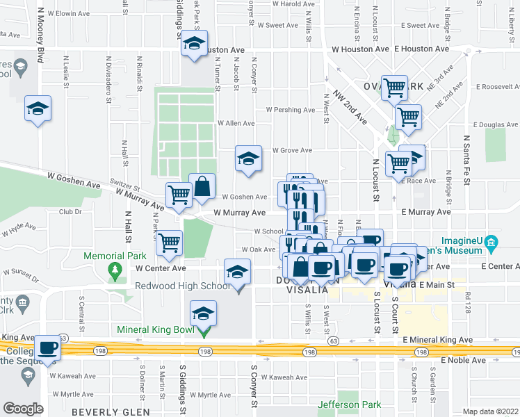 map of restaurants, bars, coffee shops, grocery stores, and more near 816 West Murray Avenue in Visalia