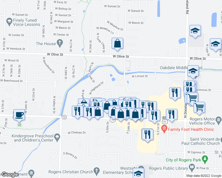 map of restaurants, bars, coffee shops, grocery stores, and more near 2729 West Highland Circle in Rogers