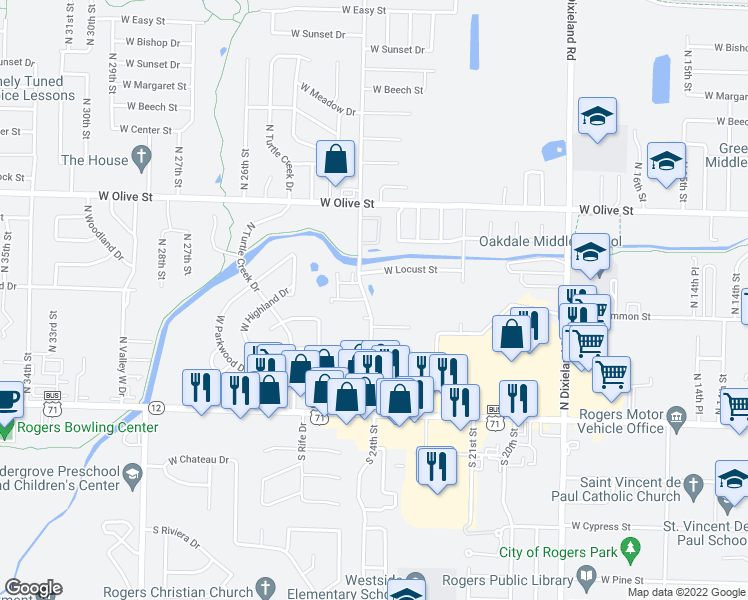 map of restaurants, bars, coffee shops, grocery stores, and more near 436-494 North 24th Street in Rogers