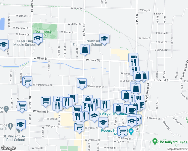 map of restaurants, bars, coffee shops, grocery stores, and more near 619 North 7th Street in Rogers
