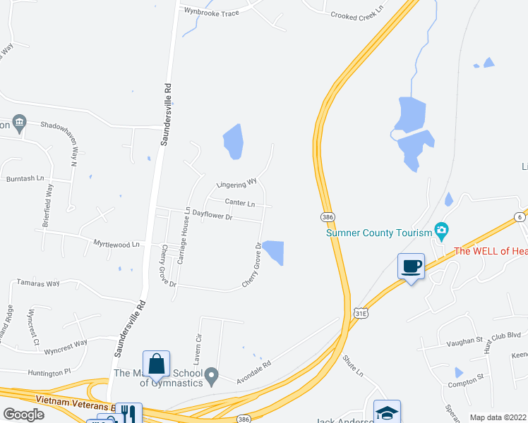 map of restaurants, bars, coffee shops, grocery stores, and more near Cherry Grove Drive in Hendersonville