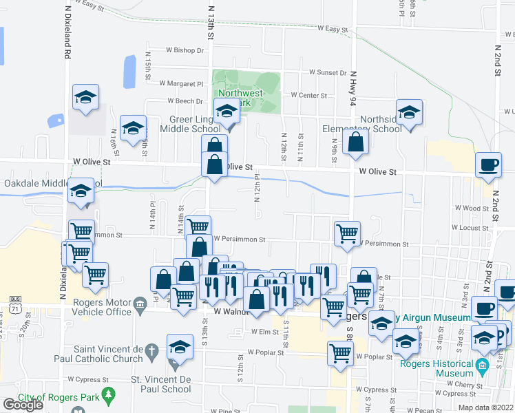 map of restaurants, bars, coffee shops, grocery stores, and more near 703 North 12th Place in Rogers