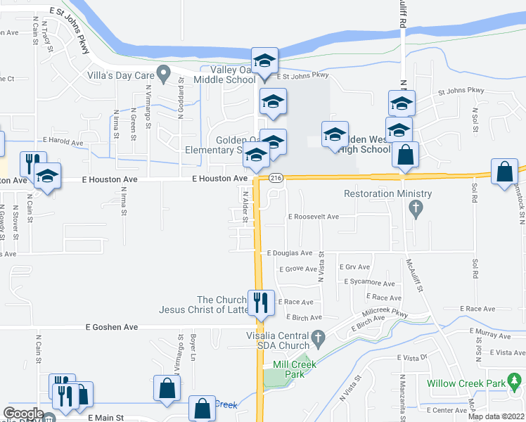 map of restaurants, bars, coffee shops, grocery stores, and more near 2901 East Stewart Avenue in Visalia