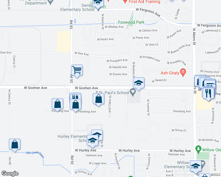 map of restaurants, bars, coffee shops, grocery stores, and more near 2442 North El Cajon Street in Visalia