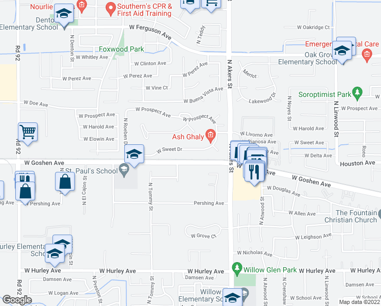 map of restaurants, bars, coffee shops, grocery stores, and more near 5547 West Sweet Drive in Visalia