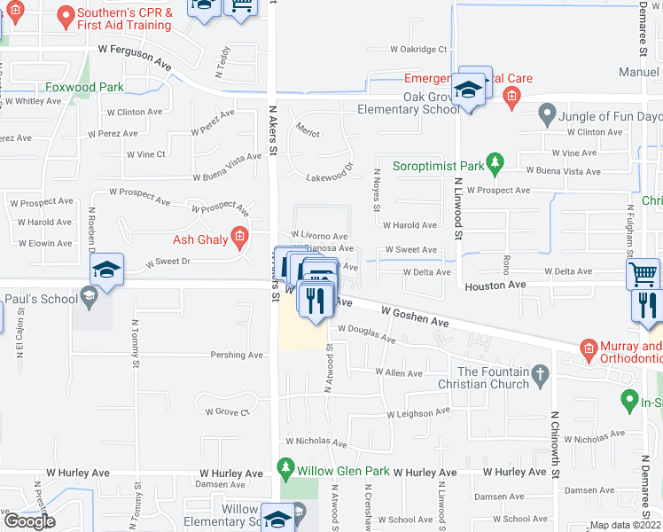 map of restaurants, bars, coffee shops, grocery stores, and more near 1451 North Volterra Street in Visalia
