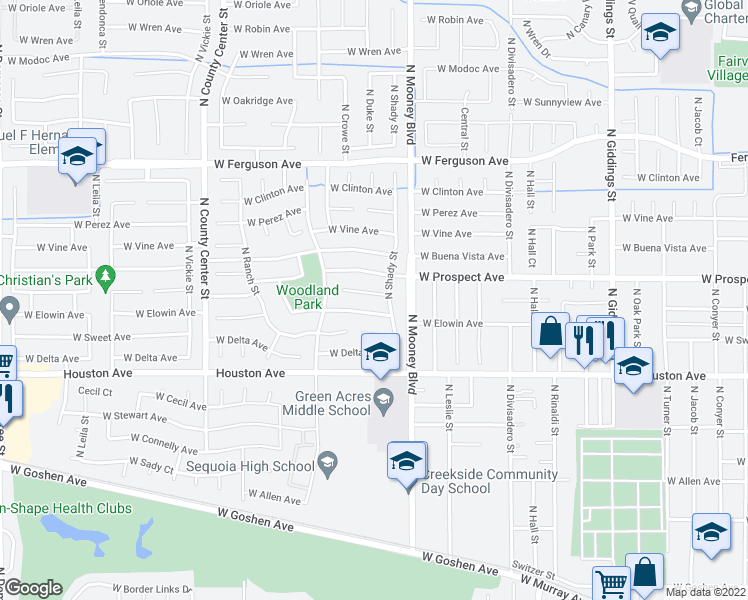 map of restaurants, bars, coffee shops, grocery stores, and more near 2235 West Harold Court in Visalia
