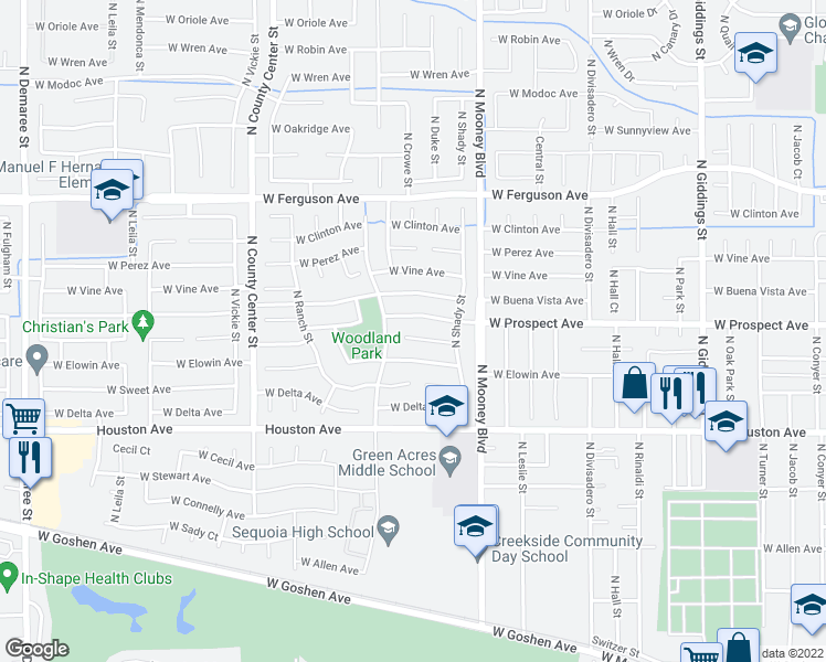 map of restaurants, bars, coffee shops, grocery stores, and more near 2330 West Harold Court in Visalia