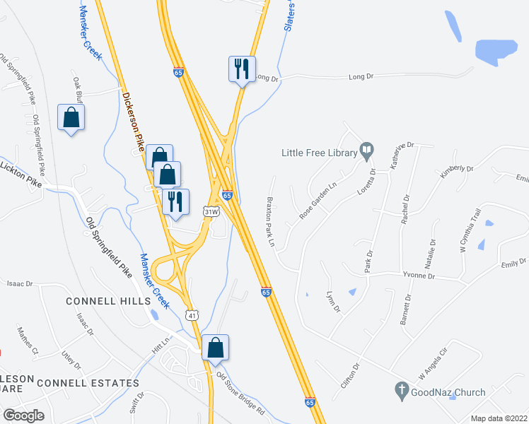 map of restaurants, bars, coffee shops, grocery stores, and more near 134 Braxton Park Lane in Goodlettsville