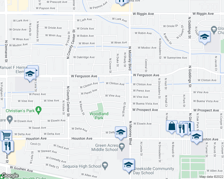 map of restaurants, bars, coffee shops, grocery stores, and more near 2324 West Perez Court in Visalia