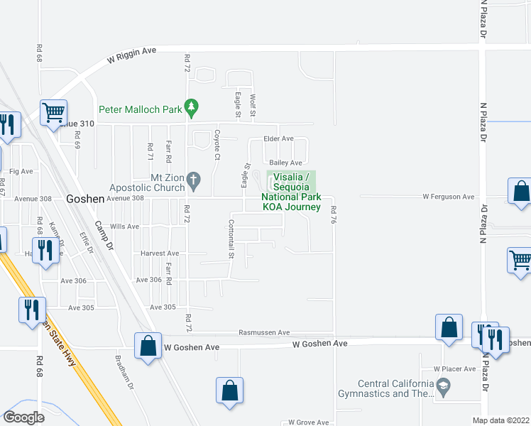 map of restaurants, bars, coffee shops, grocery stores, and more near 7383 Ensminger Avenue in Visalia