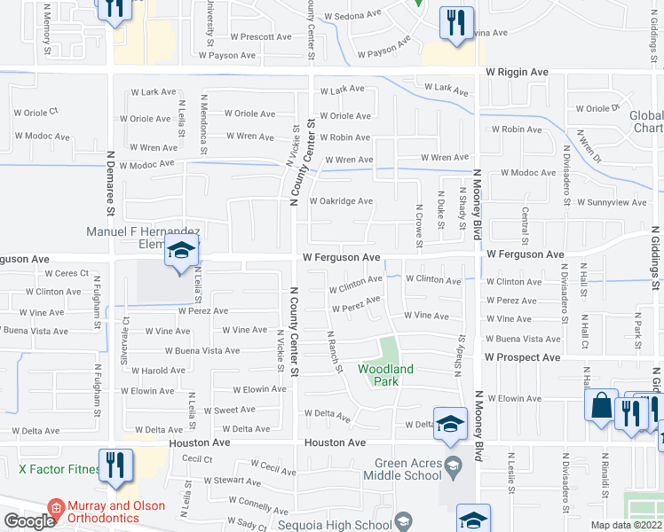 map of restaurants, bars, coffee shops, grocery stores, and more near 2142 North Ranch Street in Visalia