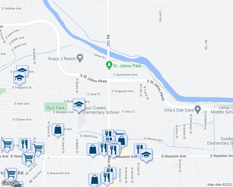 map of restaurants, bars, coffee shops, grocery stores, and more near 1348 East Ferguson Court in Visalia