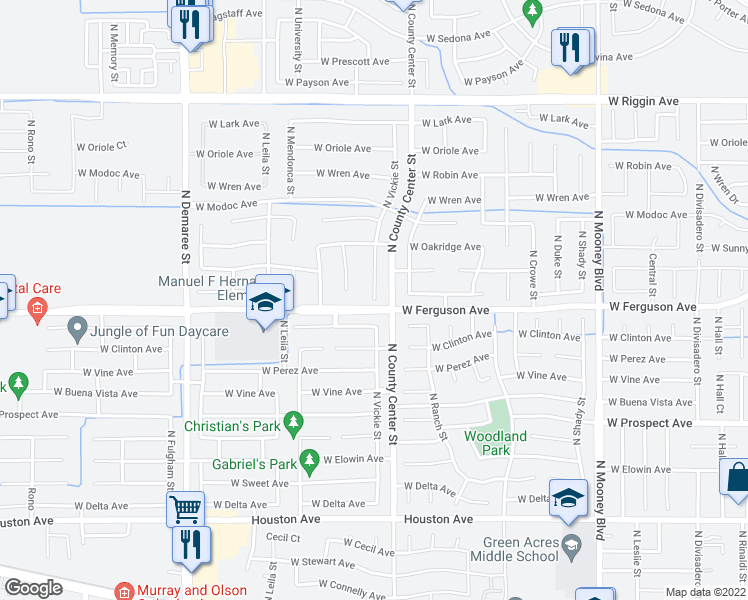 map of restaurants, bars, coffee shops, grocery stores, and more near 2208 Vickie Court in Visalia