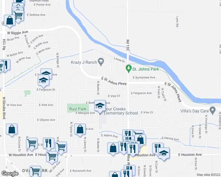 map of restaurants, bars, coffee shops, grocery stores, and more near 2209 North Oakhurst Street in Visalia