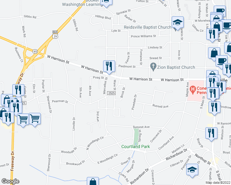 map of restaurants, bars, coffee shops, grocery stores, and more near 808 Vance Street in Reidsville