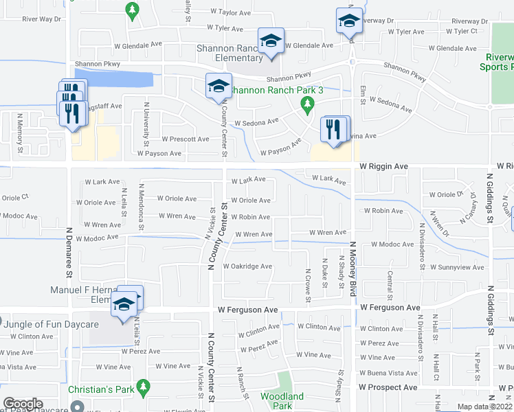 map of restaurants, bars, coffee shops, grocery stores, and more near 2601 West Oriole Avenue in Visalia