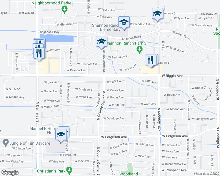 map of restaurants, bars, coffee shops, grocery stores, and more near 2724 West Oriole Avenue in Visalia