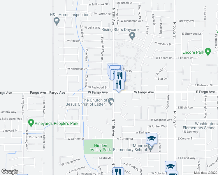 map of restaurants, bars, coffee shops, grocery stores, and more near West Redwood Street in Hanford
