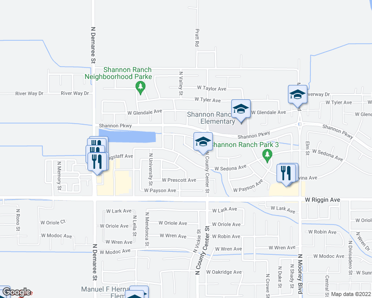 map of restaurants, bars, coffee shops, grocery stores, and more near 2877 West Brooke Avenue in Visalia