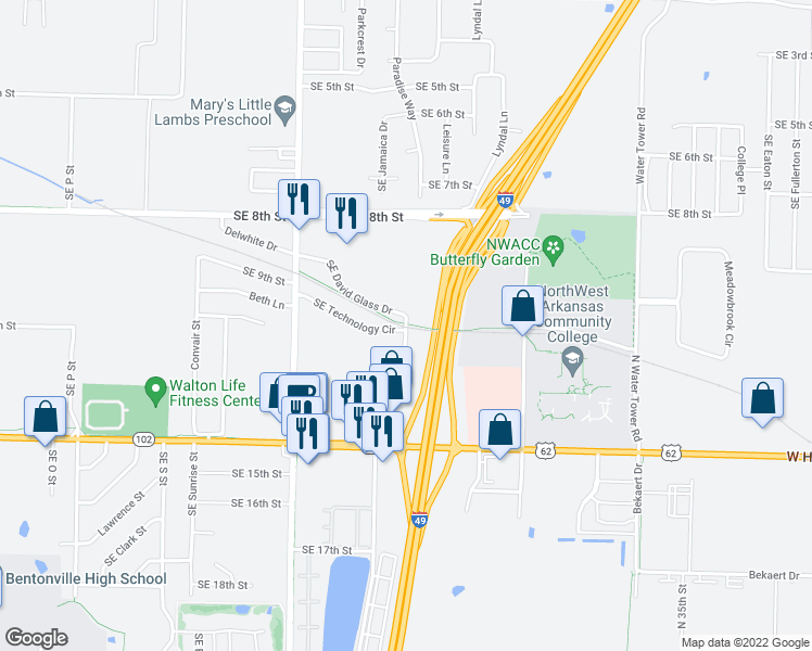 map of restaurants, bars, coffee shops, grocery stores, and more near 1004 Phyllis Street in Bentonville