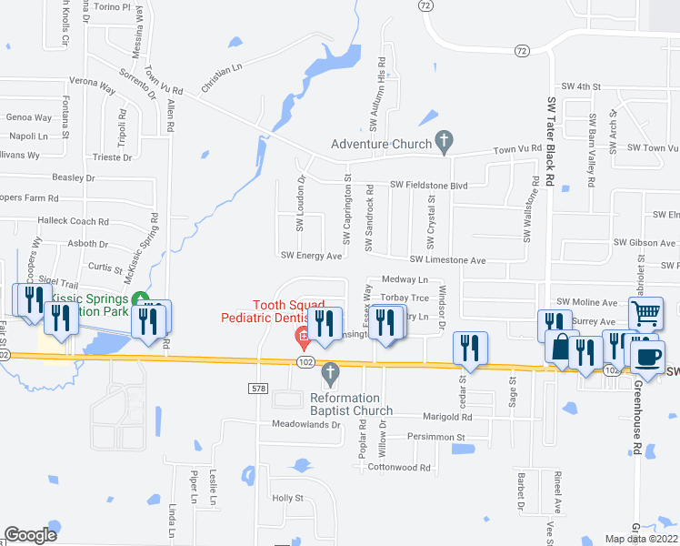 map of restaurants, bars, coffee shops, grocery stores, and more near 299 Copper Oaks Drive in Centerton