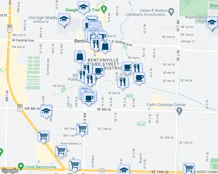 map of restaurants, bars, coffee shops, grocery stores, and more near 504 Southeast A Street in Bentonville