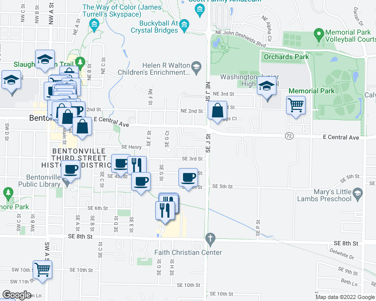 map of restaurants, bars, coffee shops, grocery stores, and more near 902 Brick Avenue in Bentonville