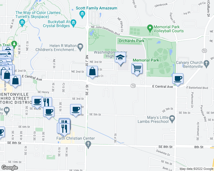 map of restaurants, bars, coffee shops, grocery stores, and more near 3 Katie Court in Bentonville