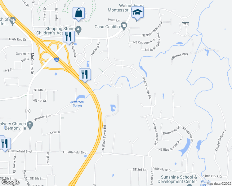 map of restaurants, bars, coffee shops, grocery stores, and more near 300 North Watertower Road in Bentonville