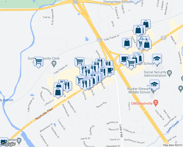 map of restaurants, bars, coffee shops, grocery stores, and more near 1008 Village Green Crossing in Gallatin