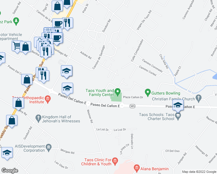map of restaurants, bars, coffee shops, grocery stores, and more near Calle Palomita in Taos